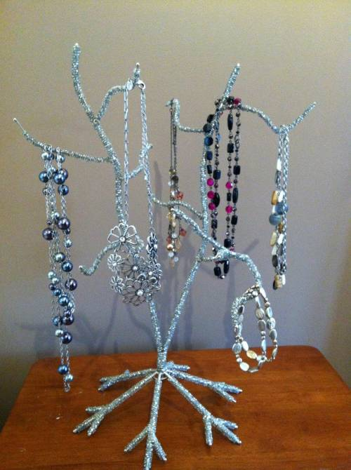 Ornament & Jewelry Tree - Small Silver Beaded