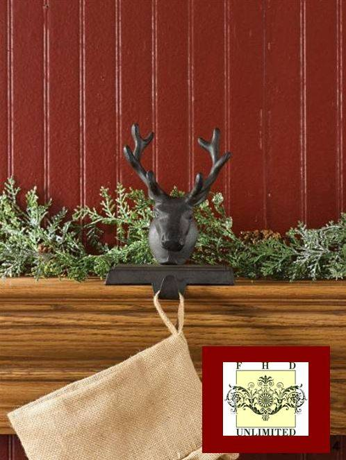 Stocking Holders Rustic Reindeer Head Stocking Hangers