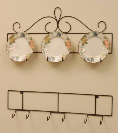 Wrought Iron Plate Hanger - Horizontal - Three 8-1/4 to 10-1/4  Plates