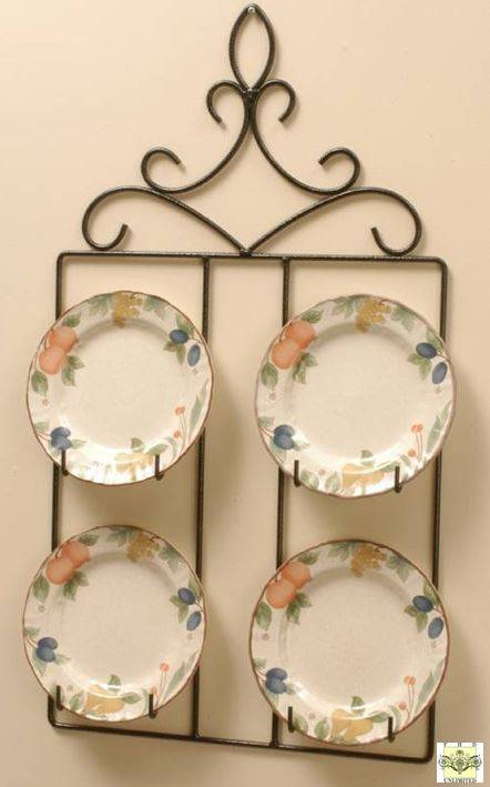 "Wrought Iron Square Plate Hanger - Four 8 1/2"" - 10"" Plates"