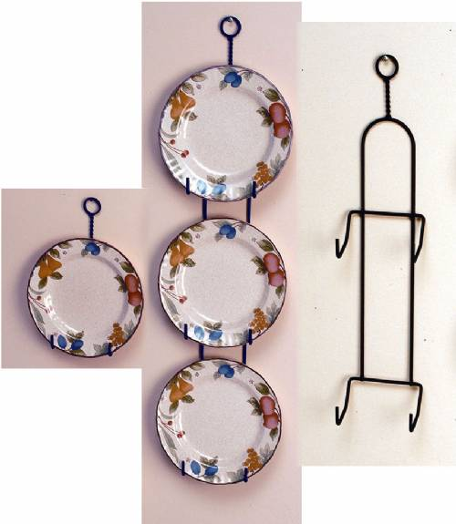"Wrought Iron Plate Hanger -  Vertical - 7 to 9"" Plates"