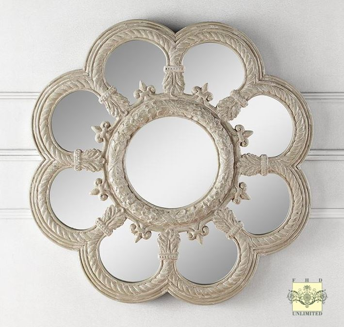 Decorative Wall Mirror - Fleur de Lis Floral
