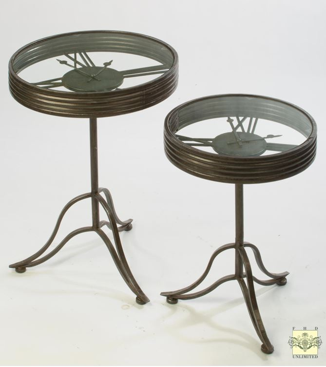 Display Side Tables Set Of Two Clock Face Design And Accent Furniture