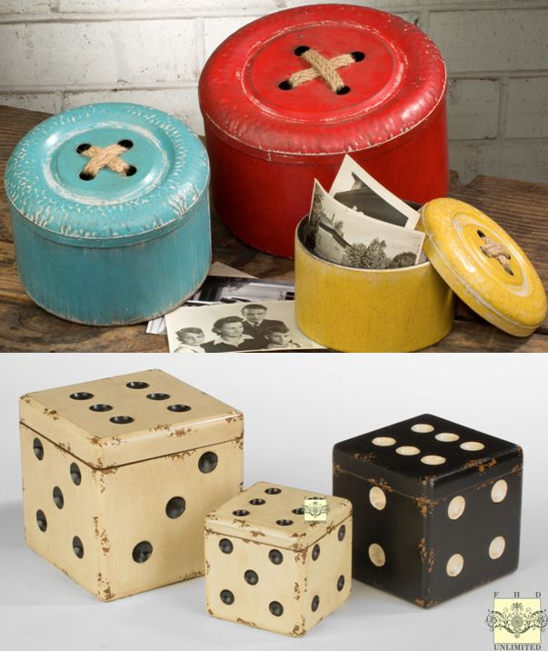 Decorative Storage Boxes - Buttons and Dice