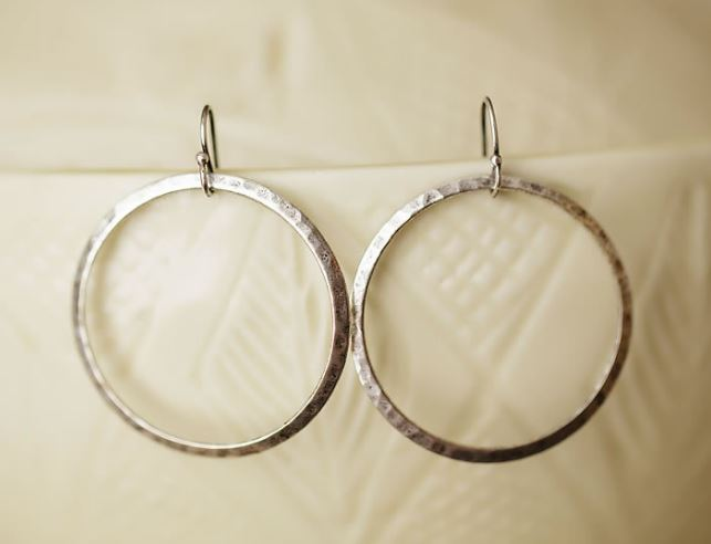 Anne Vaughan Designs - Hammered Pewter Hoops Earrings