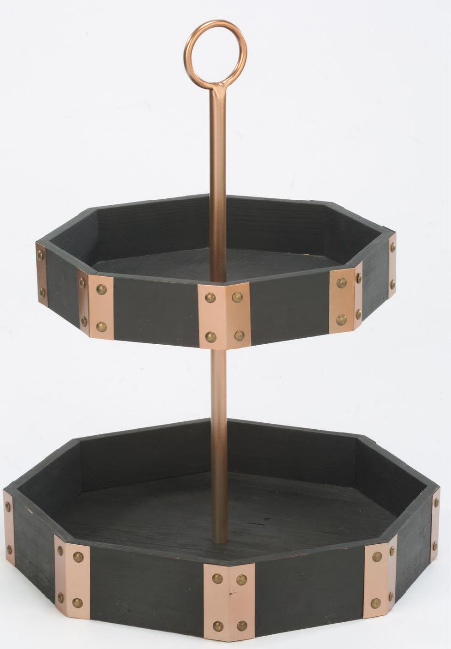 Display Stand - Two Tier Octagon Trays