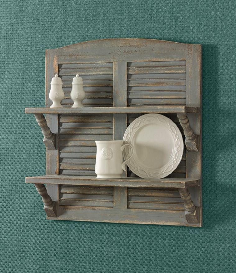 Plate Display Shelves - Aged Gray Double Shutter & Plate Racks Plate Hangers Plate Display