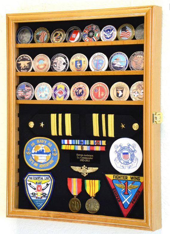 Display Case - Military Challenge Coin, Ribbon & Insignia