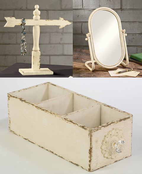 Jewelry Display - Shabby Chic Trio with Mirror