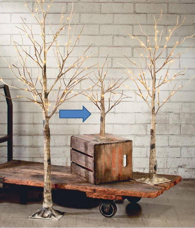 Display Tree - Small Lighted Brown Birch - Set of 3, 4 or 5