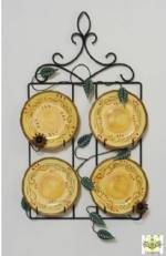 "Wrought Iron Plate Rack - Square Four Plate Hanger for 8"" - 9"" Plates"