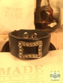 MADE IN THE DEEP SOUTH - Black Leather Cuff Bracelet - Rhinestone Rectangle