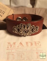 MADE IN THE DEEP SOUTH - Light Brown Leather Cuff Bracelet - Vintage Scroll