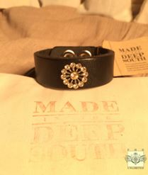 MADE IN THE DEEP SOUTH - Black Leather Cuff  Bracelet - Mini Sunburst