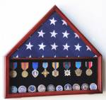 Flag Cases - Flag and Medal Case with Challenge Coin Shelf