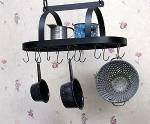 Pot & Pan Rack - Hanging Oval with Shelf & Hooks