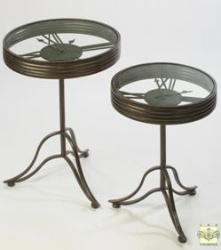 Display Side Tables - Set of Two Clock Face Industrial Design