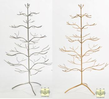 Ornament Display Tree - Silver or Gold Natural 36