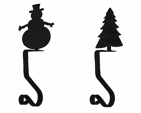 Wrought Iron Stocking Hanger - Snowman or Christmas Tree