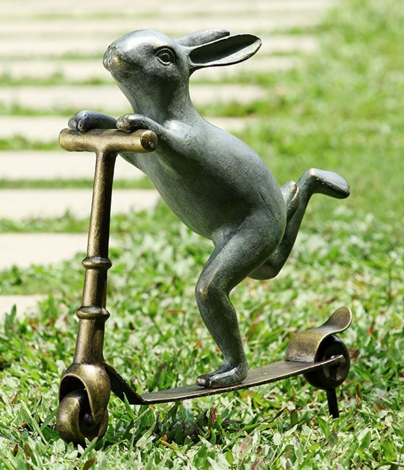 Lawn Sculpture - Scooter Bunny