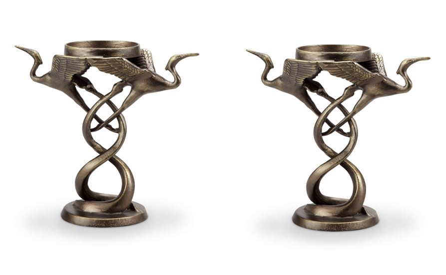 Candle Holders - Set of Two Herons