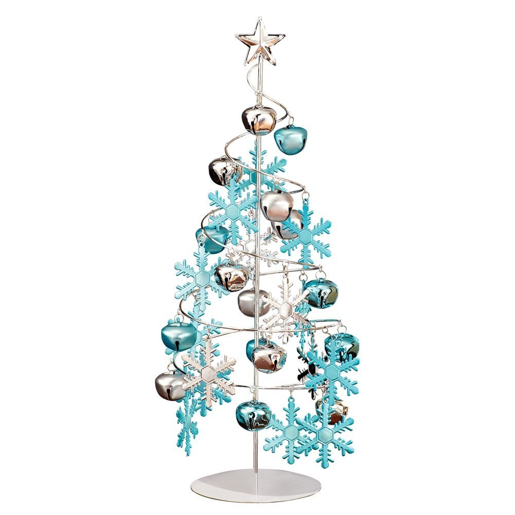 Ornament Display Tree - Tabletop Silver with Ornaments ...