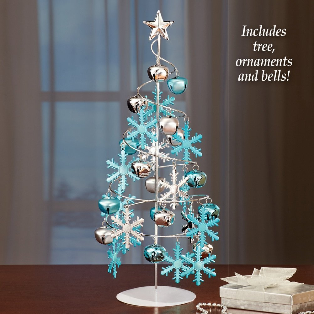 Ornament Display Tree - Tabletop Silver with Ornaments
