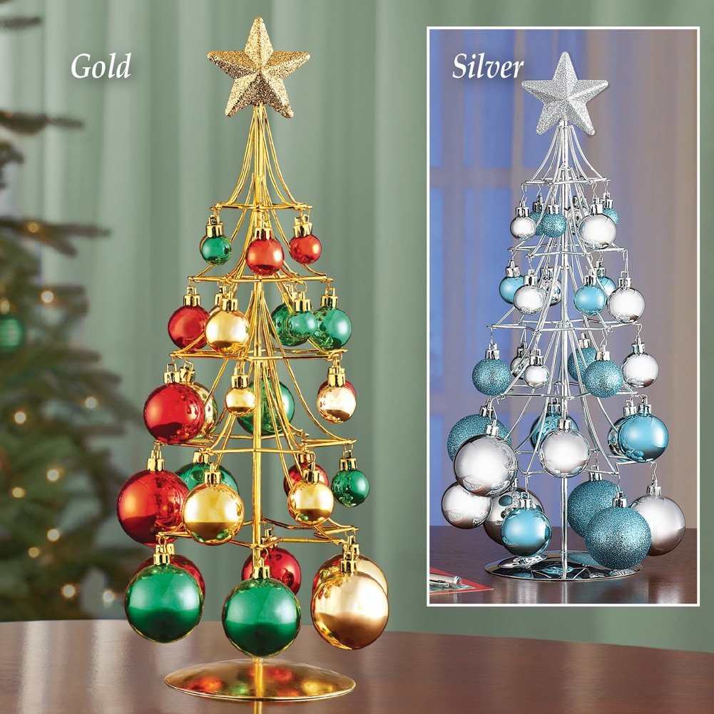 Metal Tabletop Christmas Tree: Ornament Trees, Christmas Ornament Stand And Hooks