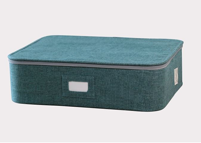 blue twill tea cup storage box