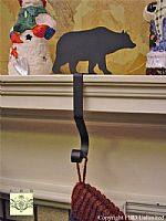 Wrought Iron Stocking Hangers - Bear