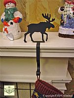 Wrought Iron Stocking Hangers - Moose