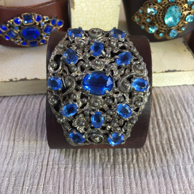 Made in the Deep South - Brown Leather Cuff - Blue & Silver Bliss