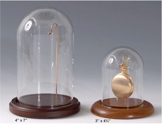 "Glass Pocket Watch Domes - Wire Hook  3"" x 4-1/4"" H"