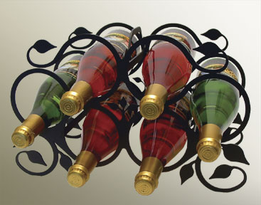 Wine Rack - Iron Leaf - 6 Bottles